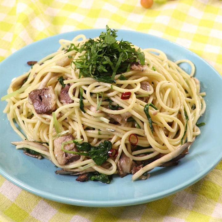 絶品和風パスタイワシと水菜と舞茸のスパゲッティ